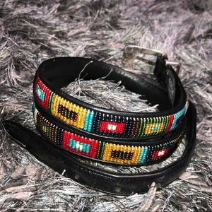 BRIGHTON | Leather Beaded Colorful Belt 36 XL